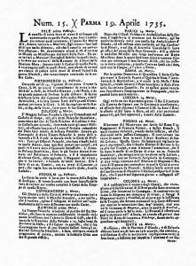 Prima pagina del N°15 della Gazzetta di Parma